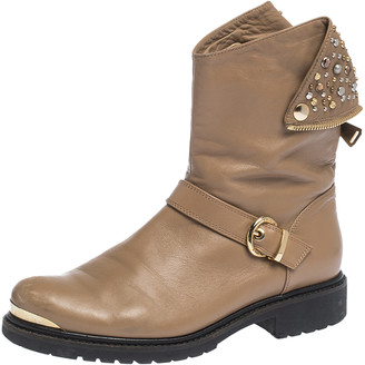 Loriblu Brown Leather Stud And Buckle Detail Ankle Boots Size 38