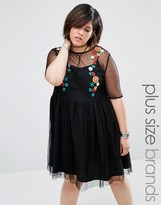 Alice & You Mesh Embroidered Skater Dress
