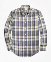 Brooks Brothers Regent Fit Large Plaid Irish Linen Sport Shirt