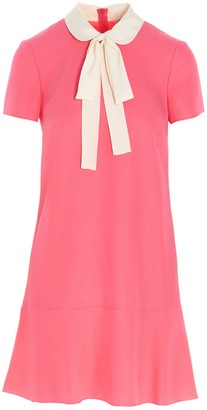 RED Valentino Pussy Bow Collar Detail Satin Dress