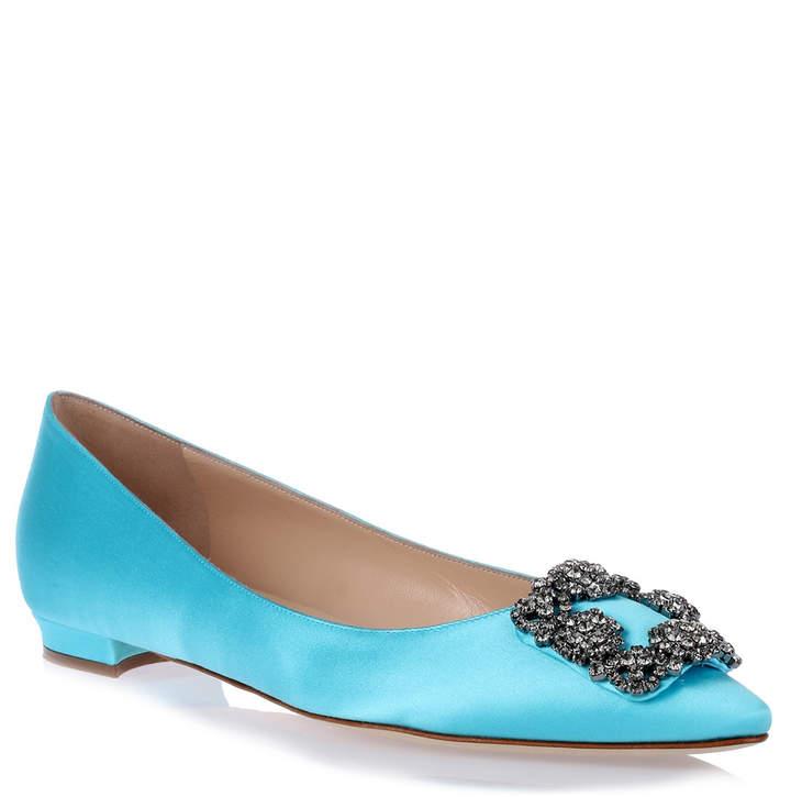 Manolo Blahnik Hangisi Flat turquoise blue satin ballerina
