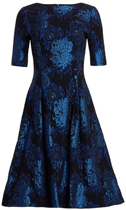 Teri Jon By Rickie Freeman Metallic Jacquard Fit-&-Flare Cocktail Dress