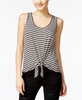 Rebellious One Juniors' Printed Tie-Front Tank Top