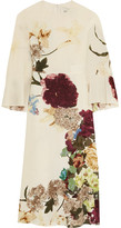 Valentino Cape-back Floral-print Silk Midi Dress - Ivory