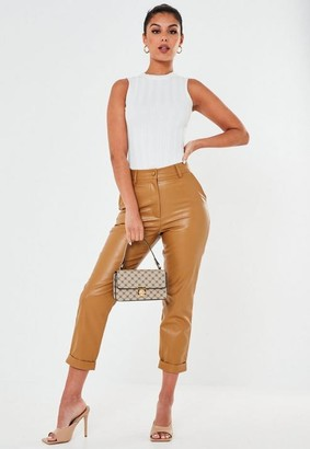 Missguided Petite Tan Faux Leather Turn Up Cigarette Pants