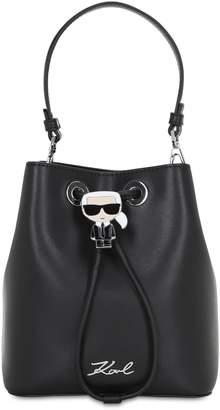 Karl Lagerfeld Paris IKONIK LEATHER BUCKET BAG