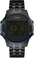 GUESS Men's Digital Chronograph Black Ion-Plated Stainless Steel Bracelet Watch 46mm U0786G2
