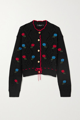 Versace Embroidered Crochet-knit Wool Cardigan - Black