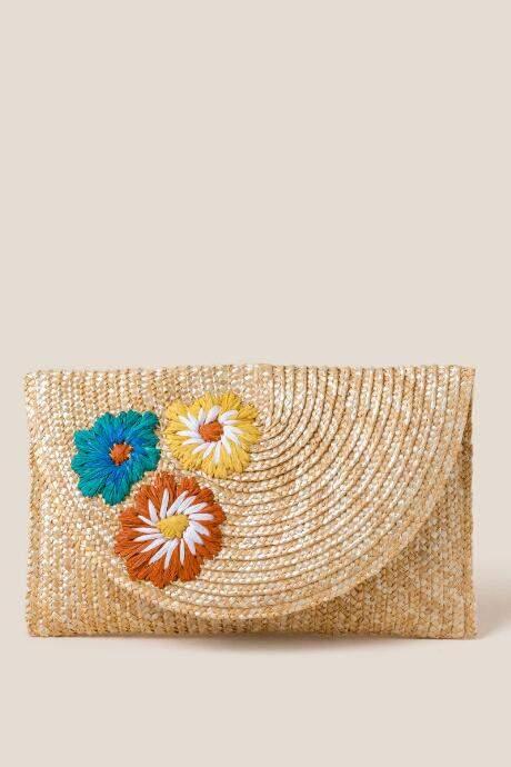 francesca's Ella Floral Straw Clutch - Natural