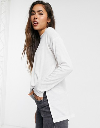 ASOS DESIGN top with side splits and long sleeve in clean rib in white