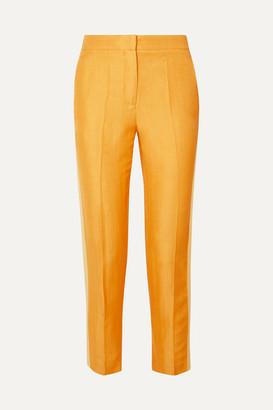 Bentley Vanessa Cocchiaro Cropped Grosgrain-trimmed Linen-blend Canvas Slim-leg Pants - Mustard