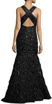 Milly Penelope Rosette Jacquard Mermaid Gown, Black