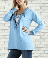 Denim Blue Lace-Up V-Neck Sweatshirt - Plus Too