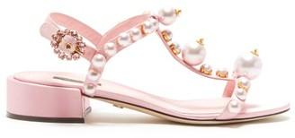 Dolce & Gabbana Pearl-embellished T-bar Satin Sandals - Womens - Pink