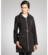 DKNY black soft shell zip front belted city trench