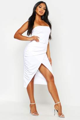 boohoo Bandeau Belted Drape Midi Bodycon Dress