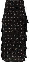 River Island Womens Black ditsy floral print tiered maxi skirt