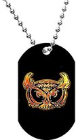 Body Candy Burning Tribal Owl Dog Tag Necklace