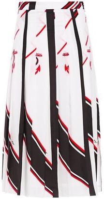 MSGM Pleated Printed Crepe De Chine Midi Skirt