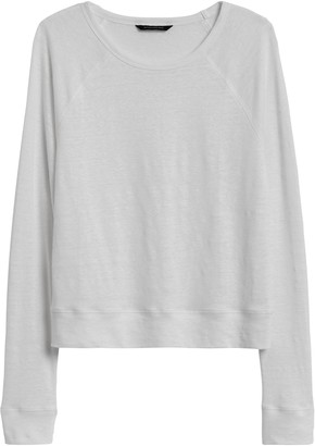 Banana Republic Petite Linen Raglan Cropped T-Shirt