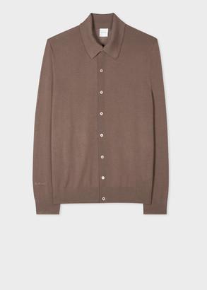 Men's Taupe Merino Wool Cardigan
