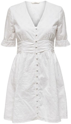 Only Cotton Flared Knee-Length Dress with Short Ruffled Sleeves and V-Neck