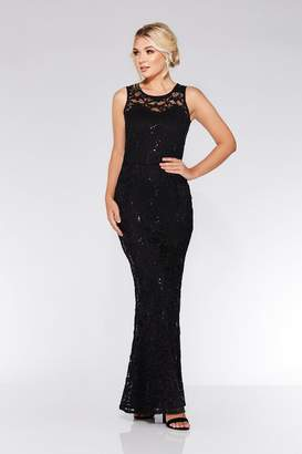 Quiz Black Lace Sequin Fishtail Maxi Dress
