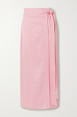 BONDI BORN Woven Wrap Maxi Skirt - Baby pink