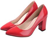 Katypeny Ladies Womens Slip On Chunky Mid Heel Pointy Toe Dress Pumps Shoes For Party 8 US M