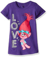 Asstd National Brand Trolls Girls' Princess Poppy Love Short Sleeve Graphic T-Shirt with Silver Glitter