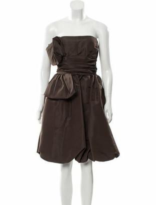 Oscar de la Renta Silk Mini Dress Brown