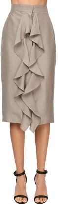 Max Mara Ruffled Light Silk Shantung Pencil Skirt