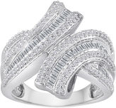 JCPenney FINE JEWELRY 3/4 CT. T.W. Diamond Sterling Silver Bypass Ring