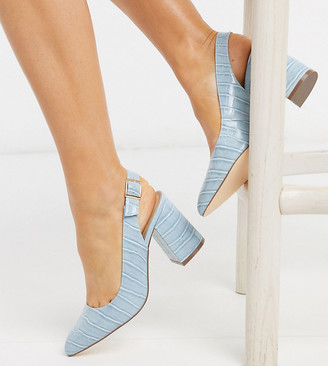 London Rebel wide fit sling back block heels in blue croc