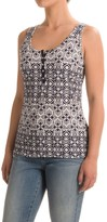 Specially made Printed Henley Tank Top - Scoop Neck (For Women)