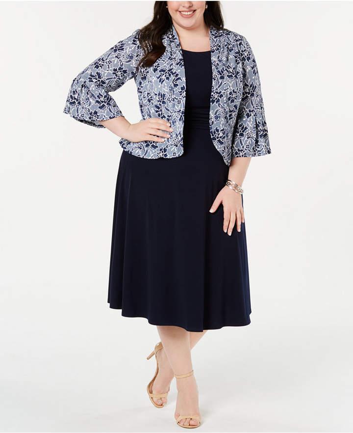 Plus Size Dress & Printed Bell-Sleeve Jacket