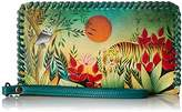 Anuschka Handpainted Leather Zip Around Wristlet With Removable Strap,Rousseau's Jungle Wallet