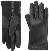 Isotoner Women's Smartouch Stretch Leather Glove with Scalloped Edge