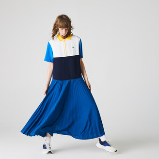 Lacoste Women's Colorblock Flowy Pleated Skirt Polo Dress