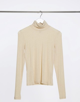 And other stories & jersey high neck top in beige melange