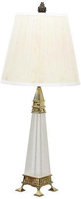 One Kings Lane Vintage Mid-Century Brass & Lucite Obelisk Lamp - Vintage Bella Home