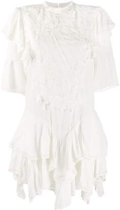 Isabel Marant Floral-Embroidered Asymmetric Dress