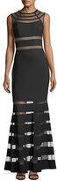 JS Collections sleeveless mesh column evening gown