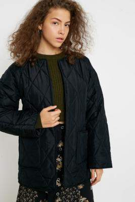 Urban Outfitters Silk Quilted Liner Jacket - black XS at