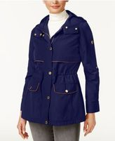 MICHAEL Michael Kors Faux-Leather-Trim Tab-Sleeve Anorak