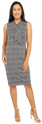 Calvin Klein Plaid Sheath Dress with Tie Neck (Indigo Cream Multi) Women's Dress