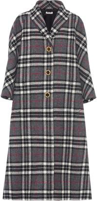 Miu Miu Single-Breasted Plaid Coat