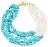 Nest Turquoise & 9MM Baroque Pearl Multi-Strand Collar Necklace