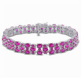 JCPenney FINE JEWELRY Lab-Created Ruby and Diamond-Accent Sterling Silver Bracelet