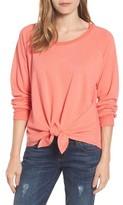 Petite Women's Caslon Tie Front Cotton Blend Sweatshirt